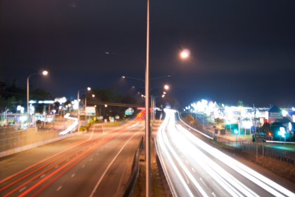 Overlooking the Pacific Motorway, after viewing Christmas Lights In Brisbane
